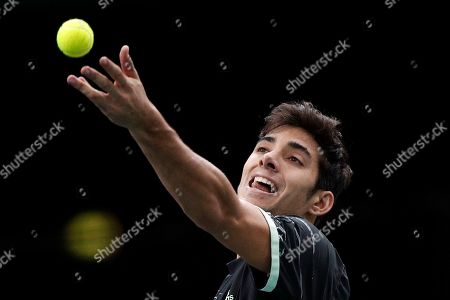 Cristian Garin of Chile in action against Jeremy Chardy of France during their round of sixteen match at the Rolex Paris Masters tennis tournament in Paris, France, 31 October 2019.