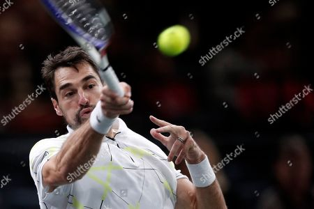 Jeremy Chardy of France in action against Cristian Garin of Chile during their round of sixteen match at the Rolex Paris Masters tennis tournament in Paris, France, 31 October 2019.