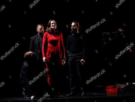 Aitana Sanchez-Gijon performs during the presentation of Spanish playwright Juan Carlos Rubio's new production, 'Juana', at Calderon theater of Valladolid, in Castilla y Leon, Spain, 31 October 2019.