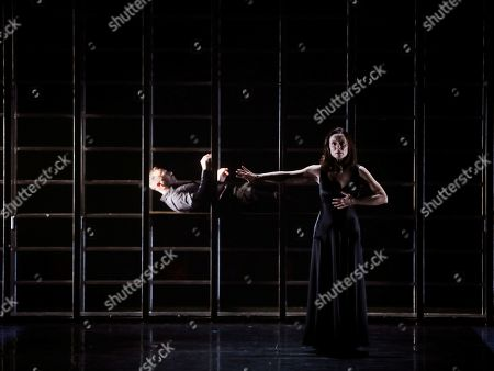 Aitana Sanchez-Gijon (R) performs during the presentation of Spanish playwright Juan Carlos Rubio's new production, 'Juana', at Calderon theater of Valladolid, in Castilla y Leon, Spain, 31 October 2019.