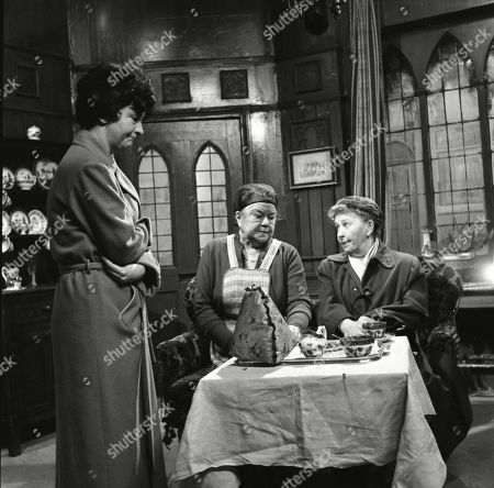 Ruth Holden (as Vera Lomax), Violet Carson (as Ena Sharples) and Margot Bryant (as Minnie Caldwell)