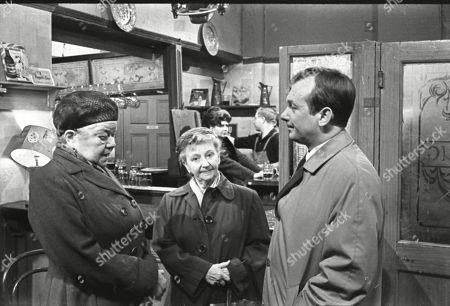Violet Carson (as Ena Sharples), Margot Bryant (as Minnie Caldwell) and Geoffrey Matthews (as Neil Crossley)