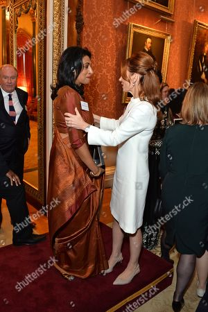 Dhulsini De Zoysa and Author Geri Horner during a reception for winners of the Queen's Commonwealth essay competition 2019 at Buckingham Palace