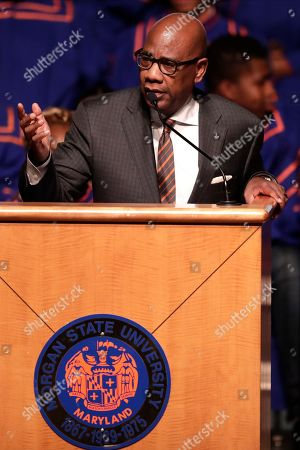 Morgan State University president David Wilson speaks during a viewing service at Morgan State University, in Baltimore. The Maryland congressman and civil rights champion died Thursday, Oct. 17, at age 68 of complications from long-standing health issues