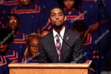 Stock Image of Baltimore Council President Brandon Scott speaks during a viewing service for the late U.S. Rep. Elijah Cummings at Morgan State University, in Baltimore. The Maryland congressman and civil rights champion died Thursday, Oct. 17, at age 68 of complications from long-standing health issues