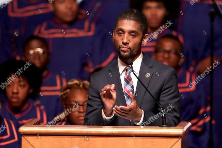 Baltimore Council President Brandon Scott speaks during a viewing service for the late U.S. Rep. Elijah Cummings at Morgan State University, in Baltimore. The Maryland congressman and civil rights champion died Thursday, Oct. 17, at age 68 of complications from long-standing health issues