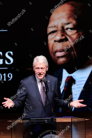 Former President Bill Clinton speaks during funeral services for the late U.S. Rep. Elijah Cummings, in Baltimore. The Maryland congressman and civil rights champion died Thursday, Oct. 17, at age 68 of complications from long-standing health issues