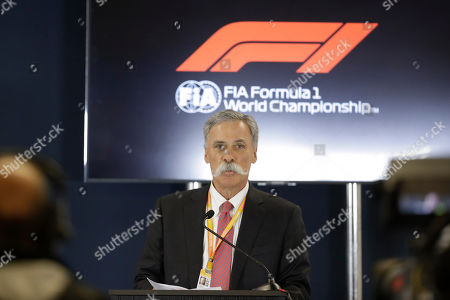 Formula One chairman Chase Carey speaks during a news conference at the Formula One U.S. Grand Prix auto race at the Circuit of the Americas, in Austin, Texas
