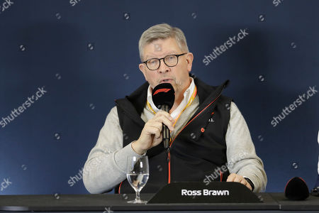 Ross Brawn speaks during a news conference at the Formula One U.S. Grand Prix auto race at the Circuit of the Americas, in Austin, Texas