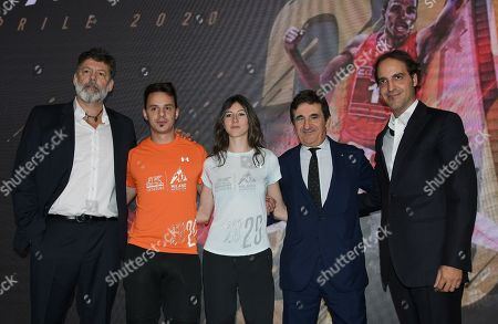 Stock Image of Urbano Cairo CEO and President of Cairo Communication, RCS MediaGroup and Torino Calcio, models with official event jerseys and organizers.