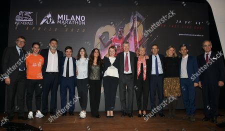 Gabriele Galateri di Genola President of Assicurazioni Generali, Giuseppe Sala Mayor of Milan, Andrea Monti director of Gazzetta dello Sport, Urbano Cairo CEO and President of Cairo Communication, RCS MediaGroup and Torino Calcio, Isabelle Conner Group Chief Marketing Officer General with event organizers.
