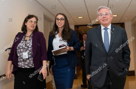 United States Senator Bob Menendez (Democrat of New Jersey) leaves a closed-door briefing on Syria in the U.S. Capitol