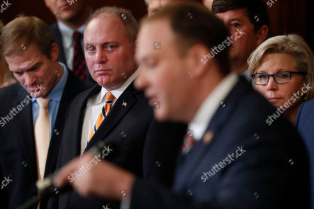 Jim Jordan, Steve Scalise, Lee Zeldin, Liza Cheney. From l-r., Rep. Jim Jordan, R-Ohio, Rep. Steve Scalise, R-La., and House Republican Conference chair Rep. Liz Cheney, R-Wyo., listening to Rep. Rep. Lee Zeldin, D-N.Y., second from the right, during a news conference on Capitol Hill in Washington, . Democrats pushed a package of ground rules for their inquiry of President Donald Trump through a sharply divided House, the chamber's first formal vote in a fight that could stretch into 2020 election