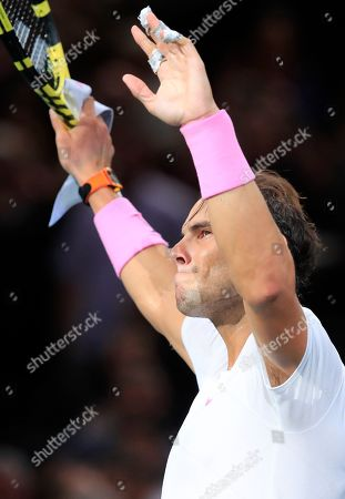 Spain's Rafael Nadal reacts after defeating 6-4, 6-4 Swiss Stan Wawrinka during the 3rd round match of the Paris Masters tennis tournament in Paris, France