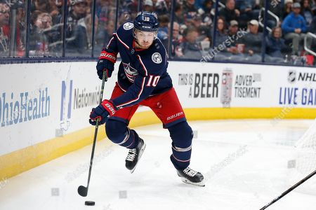 Stock Image of Columbus Blue Jackets' Alexander Wennberg, of Sweden, plays against the Edmonton Oilers during an NHL hockey game, in Columbus, Ohio