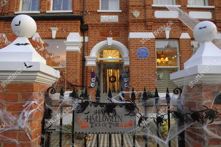 Halloween decorations outside the former home of former United Kingdom Prime Minister, David Lloyd George, now a Blue Plaque listed home in Wandsworth, south London.
