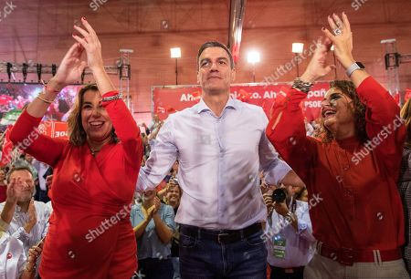 Spanish acting Prime Minister Pedro Sanchez (C), Spanish Socialist Workers Party (PSOE) leader in Andalusia Susana Diaz (L) and acting Treasury Minister Maria Jesus Montero (R) arrive at the election campaign opening rally of the PSOE at the Pino Montano district of Seville, southern Spain, 31 October 2019. Spain will hold general elections on 10 November 2019, after Sanchez failed to form a government following 28 April elections.