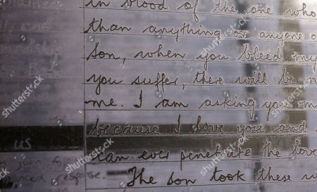 A detail in the temporary art installation 'The Writing on the Wall', a traveling installation made up of essays, poems, letters, drawings and notes by people in prison around the world, in the Highline park in New York, New York, USA, 31 October 2019. The installation, which is in place from 31 October until 10 November 2019, is a collaboration between artist Hank Willis Thomas and Dr. Baz Dreisinger,  the founder of the Prison-to-College Pipeline program at John Jay College of Criminal Justice.