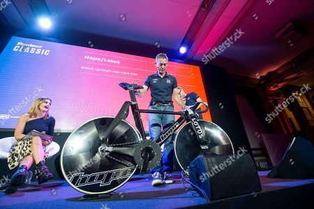 The GBCT Great Britain Cycling Team Track Bike developed by Hope Tech and Lotus brought onstage at Rouleur Classic London 2019 by British Cycling's Performance Director Stephen Park.