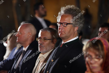 Germany filmmaker Florian Henckel von Donnersmarck (R) at the Hafezieh (The Tomb of Hafez) during a ceremony celebrating German Culture Week in Shiraz, southern Iran, 31 October 2019, on the occasion of on the anniversary of the publication of German writer Johann Wolfgang von Goethe's poetry book 'West-Eastern Divan' 200 years ago.