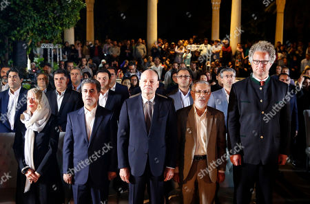 German Ambassador to Iran Michael Klor-Berchtold (C), Shiraz Mayor Hedar Eskandarpour (2-L) and Germany filmmaker Florian Henckel von Donnersmarck (R) at the Hafezieh (The Tomb of Hafez) during a ceremony celebrating German Culture Week in Shiraz, southern Iran, 31 October 2019, on the occasion of on the anniversary of the publication of German writer Johann Wolfgang von Goethe's poetry book 'West-Eastern Divan' 200 years ago.