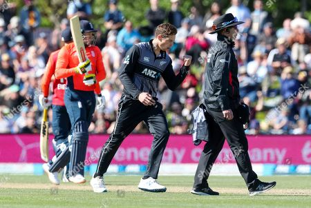 Stock Photo of Mitchell Santner of New Zealand celebrates after taking the wicket of England's Jonny Bairstow during the T20 cricket game at Hagley Oval, in Christchurch, New Zealand, Friday Nov.1, 2019