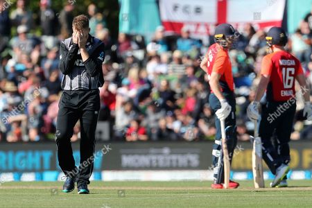 New Zealand bowler Lockie Ferguson reacts during the T20 cricket game against England at Hagley Oval, in Christchurch, New Zealand, Friday Nov.1, 2019