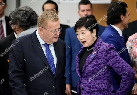 John Coates (C, left), Chairman of the IOC Coordination Commission for the Games of the XXXII Olympiad, and Yuriko Koike (C, right), Governor of Tokyo, speak to each other as they leave the Four-Party Representative Meeting in Tokyo, Japan, 01 November 2019. The Four-Party Representative Meeting is made up of representatives of the International Olympic Committee, the Tokyo 2020 Organising Committee, the Tokyo Metropolitan Government and the Government of Japan.