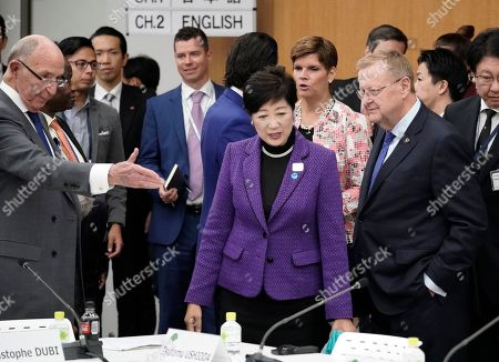 John Coates (R, front), Chairman of the IOC Coordination Commission for the Games of the XXXII Olympiad, IOC member Alex Gilady (L) and Yuriko Koike (C), Governor of Tokyo, speak prior to the start of the Four-Party Representative Meeting in Tokyo, Japan, 01 November 2019. The Four-Party Representative Meeting is made up of representatives of the International Olympic Committee, the Tokyo 2020 Organising Committee, the Tokyo Metropolitan Government and the Government of Japan.