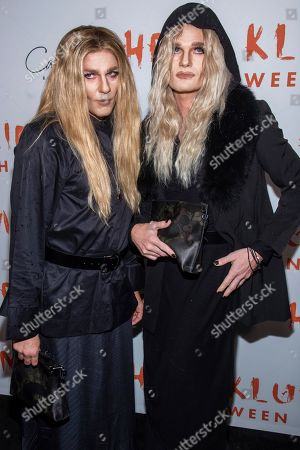Neil Patrick Harris, David Burtka. David Burtka, left, and Neil Patrick Harris attend Heidi Klum's Halloween party dressed respectively as Ashley Olsen and Mary-Kate Olsen, at Cathedrale, in New York