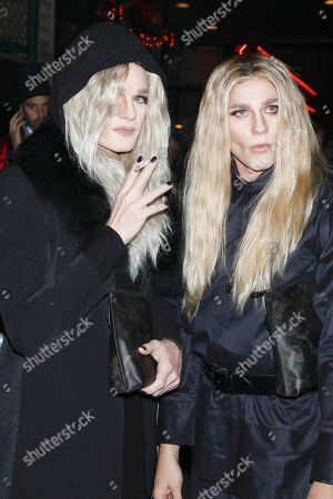 Neil Patrick Harris and David Burtka, dressed respectively as Mary-Kate Olsen and Ashley Olsen