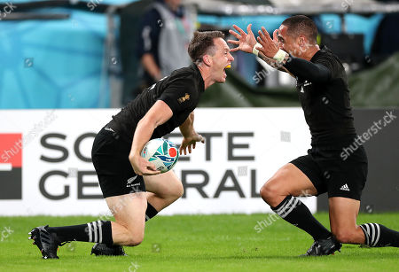 New Zealand vs Wales. New Zealand's Ben Smith celebrates scoring their fourth try with Aaron Smith