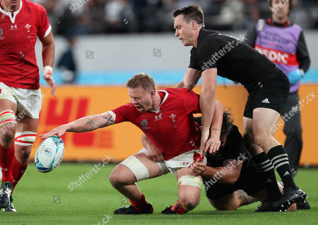 New Zealand vs Wales. Wales James Davies with Ben Smith of New Zealand