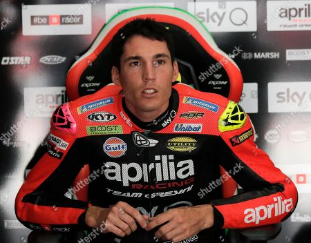 Stock Image of Spanish MotoGP rider Aleix Espargaro of Aprilia Racing Team Gresini rests inside his pit during the free practice of the Motorcycling Grand Prix of Malaysia 2019 in Sepang International Circuit, outside Kuala Lumpur, Malaysia, 01 November 2019. The 2019 Malaysia Motorcycling Grand Prix will take place on 03 November.