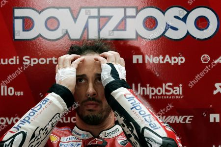 Italian MotoGP rider Andrea Dovizioso of Ducati Team rests inside his pit during the free practice of the Motorcycling Grand Prix of Malaysia 2019 in Sepang International Circuit, outside Kuala Lumpur, Malaysia, 01 November 2019. The 2019 Malaysia Motorcycling Grand Prix will take place on 03 November.