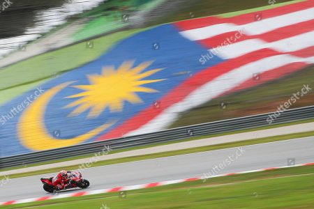 Italian MotoGP rider Andrea Dovizioso of Ducati Team in action during the free practice of the Motorcycling Grand Prix of Malaysia 2019 in Sepang International Circuit, outside Kuala Lumpur, Malaysia, 01 November 2019. The 2019 Malaysia Motorcycling Grand Prix will take place on 03 November.