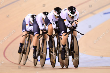Stock Photo of Franziska Brausse, Lisa Brennauer, Lisa Klein and Gudrun Stock of Germany ride during the WoMen's Team Pursuit First Round.
