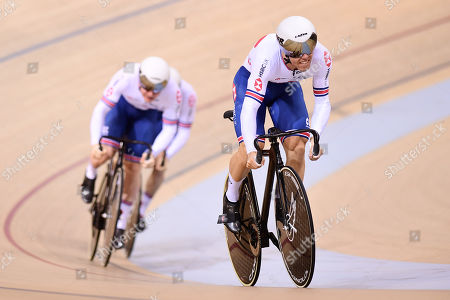 Ryan Owens, Jason Kenny and Jack Carlin of Great Britain ride in the Menâ??s Team Sprint First Round.