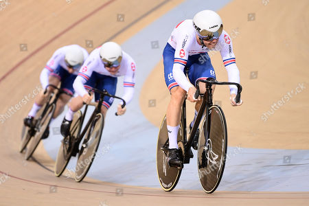 Ryan Owens, Jack Carlin and Jason Kenny of Great Britain ride during the Menâ??s Team Sprint Final.