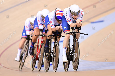 Stock Photo of Matthew Walls, Mark Stewart, Steven Burke and Ethan Vernon of Great Britain ride during the Men's Team Pursuit First Round.