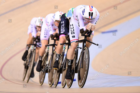 Stock Picture of John Archibald, Daniel Bigham, William Perrett and Jonny Wale of Huub Wattbike Test Team ride during the Men's Team Pursuit First Round.