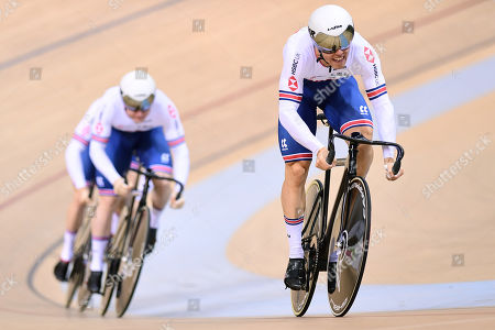 Ryan Owens, Jack Carlin and Jason Kenny of Great Britain ride in the Menâ??s Team Sprint Qualifying.
