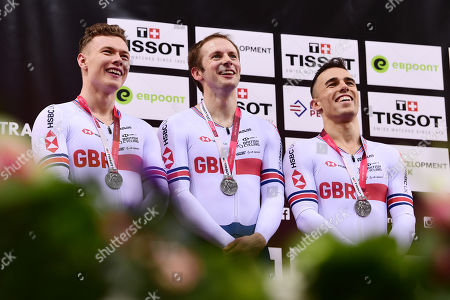 Jack Carlin, Jason Kenny and Ryan Owens of Great Britain on the podium after winning silver in the Menâ??s Team Sprint Final.