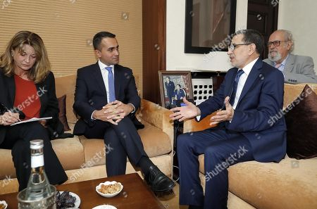 Luigi Di Maio (C-L), Italian Minister of Foreign Affairs, with Saadeddine El Othmani (C-R), Prime Minister of Morocco, during their meeting at the Government Palace in Rabat, Morocco, 01 November 2019.