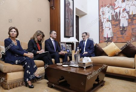 Luigi Di Maio (2-R), Italian Minister of Foreign Affairs, with Saadeddine El Othmani (R), Prime Minister of Morocco, during their meeting at the Government Palace in Rabat, Morocco, 01 November 2019.