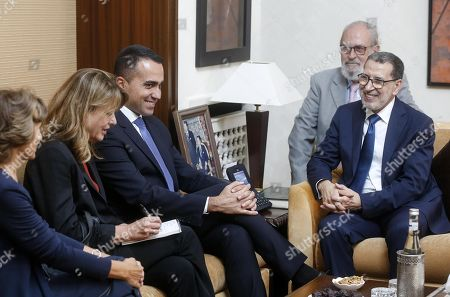 Luigi Di Maio (3-L), Italian Minister of Foreign Affairs, with Saadeddine El Othmani (R), Prime Minister of Morocco, during their meeting at the Government Palace in Rabat, Morocco, 01 November 2019.