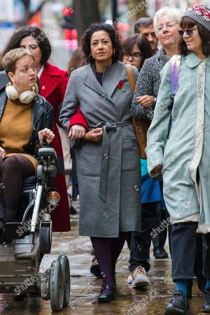 Television presenter, Samira Ahmed (C) with her supporters arrives at the Central London Employment Tribunal to attend an equal pay case hearing against the BBC.