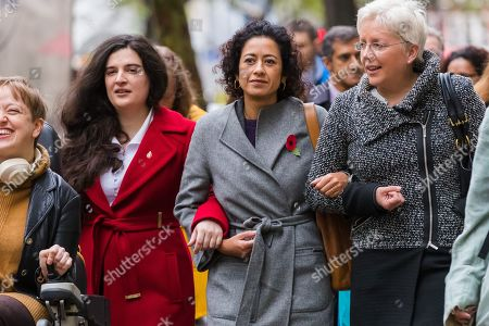 Television presenter, Samira Ahmed (C) with her supporters, including BBC journalist Carrie Gracie (R), arrives at the Central London Employment Tribunal to attend an equal pay case hearing against the BBC.