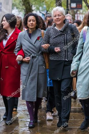 Samira Ahmed (C) arrives at the Central London Employment Tribunal with former BBC China editor, Carrie Gracie (R) to attend an equal pay case hearing against the BBC.