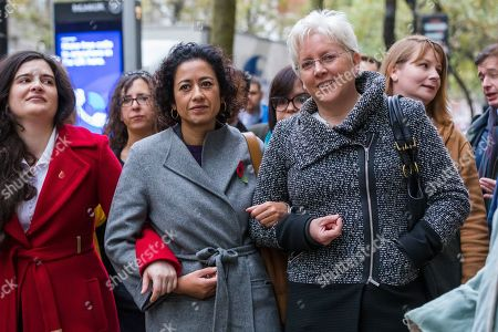 Samira Ahmed (C) arrives at the Central London Employment Tribunal with former BBC China editor, Carrie Gracie (R) to attend an equal pay case hearing against the BBC